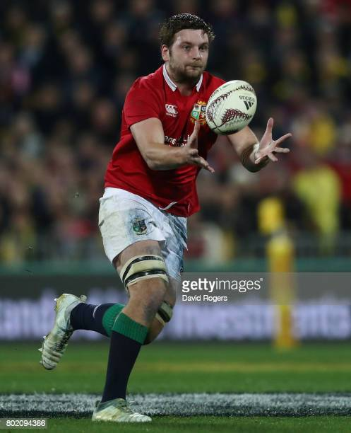 Iain Henderson of the Lions catches the ball during the match between the Hurricanes and the British Irish Lions at Westpac Stadium on June 27 2017...