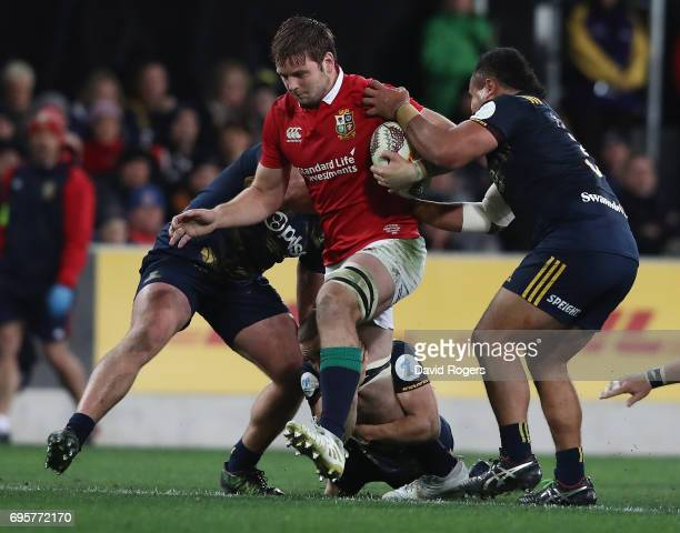 Iain Henderson of the Lions is tackled during the 2017 British Irish Lions tour match between the Highlanders and the British Irish Lions at Forsyth...