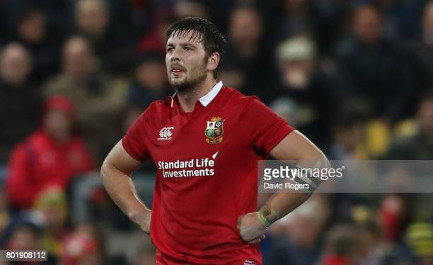 Iain Henderson of the Lions looks on during the match between the Hurricanes and the British Irish Lions at Westpac Stadium on June 27 2017 in...