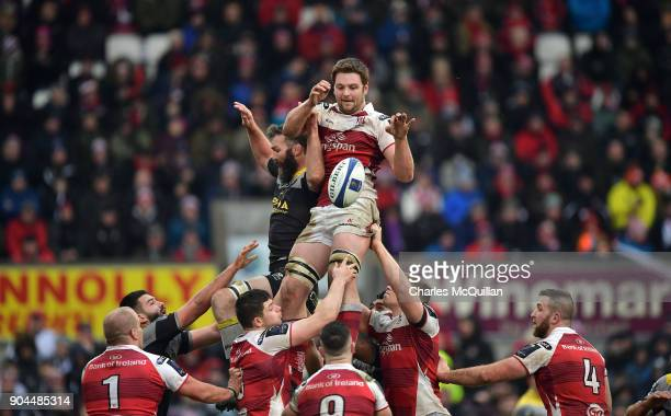 Iain Henderson of Ulster collects a line out ball during the European Rugby Champions Cup match between Ulster Rugby and La Rochelle at Kingspan...