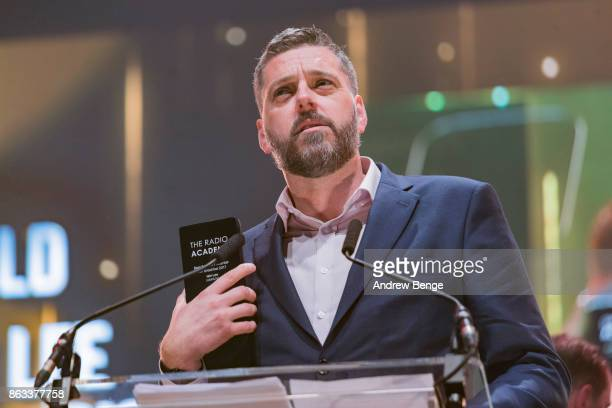 Iain Lee wins an award at the Audio Radio Industry Awards at First Direct Arena Leeds on October 19 2017 in Leeds England