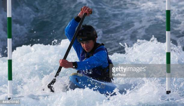 Iain McBride of Breadabane CC compete in the Canoe Single Men 2nd Run during the British Canoeing 2017 British Open Slalom Championships at Lee...