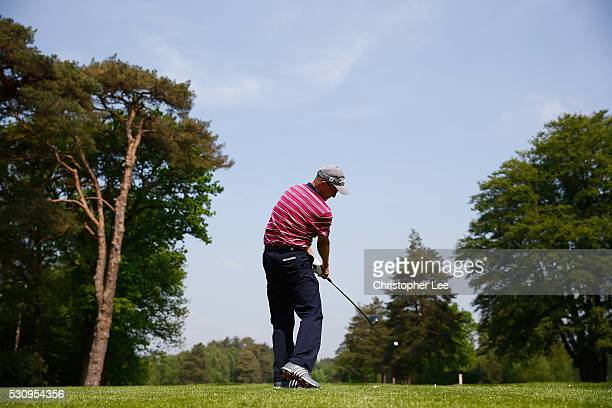 Iain Naylor of Nizels Golf Country Club tee's off on the 1st during Round 1 of the Senior Club Pro's Championship at Foxhills Golf Club on May 12...