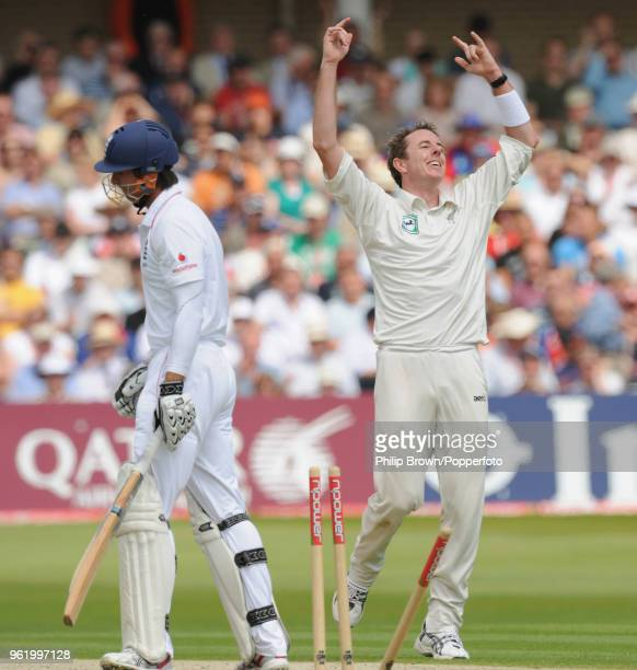 Iain O'Brien of New Zealand celebrates after bowling Michael Vaughan of England for 16 runs during the 3rd Test match between England and New Zealand...