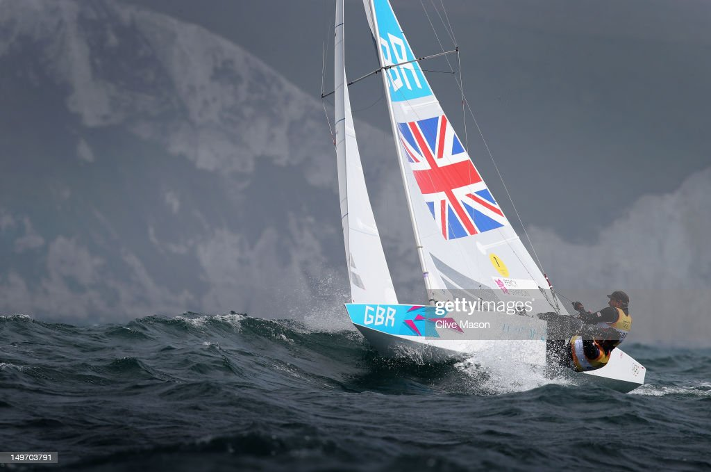 Iain Percy (R) and Andrew Simpson of Great Britain compete in the Men's Star Sailing on Day 6 of the London 2012 Olympic Games at the Weymouth & Portland Venue at Weymouth Harbour on August 2, 2012 in Weymouth, England.