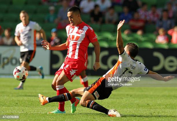 Iain Ramsay of the Heart is tackled by Jade North of the Roar during the round 20 ALeague match between Melbourne Heart and Brisbane Roar at AAMI...