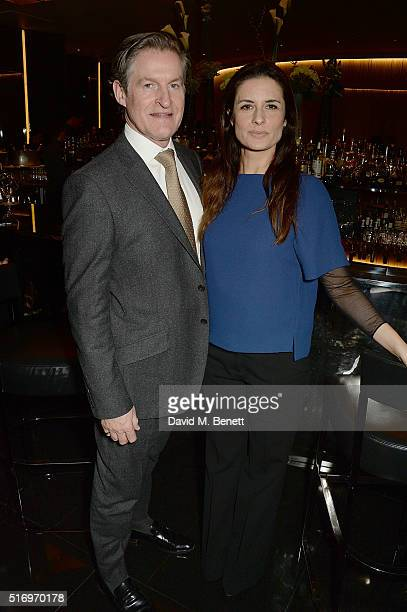 Iain Renwick and Livia Firth attend the BFC/Vogue Designer Fashion Fund 2016 winners announcement at the Bulgari Hotel on March 22 2016 in London...