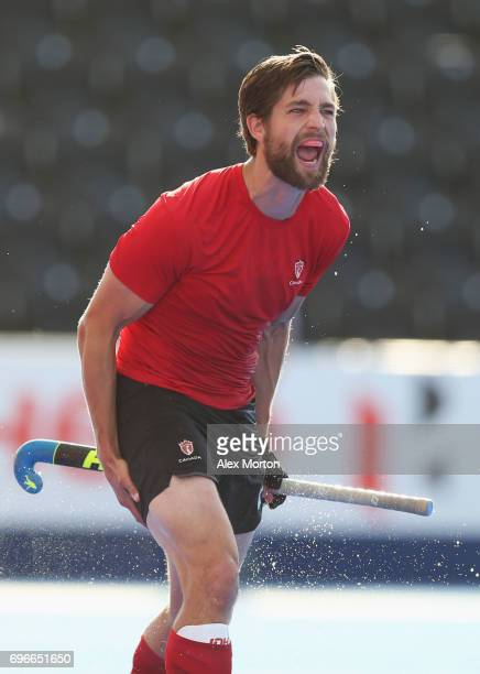 Iain Smythe of Canada celebrates as he scores their second goal during the Hero Hockey World League SemiFinal Pool B match between Pakistan and...