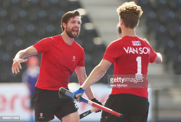 Iain Smythe of Canada celebrates as he scores their second goal with Foris Van Son during the Hero Hockey World League SemiFinal Pool B match between...