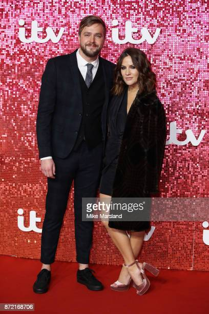 Iain Stirling and Caroline Flack arrive at the ITV Gala held at the London Palladium on November 9 2017 in London England