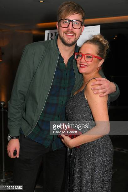 Iain Stirling and Erica Bergsmeds attends an exhibition by Erica Bergsmeds of photographs from her new magazine BLOWOUT at 100 Wardour St on February...