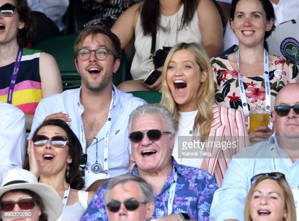 Iain Stirling and Laura Whitmore attend day six of the Wimbledon Tennis Championships at the All England Lawn Tennis and Croquet Club on July 7 2018...