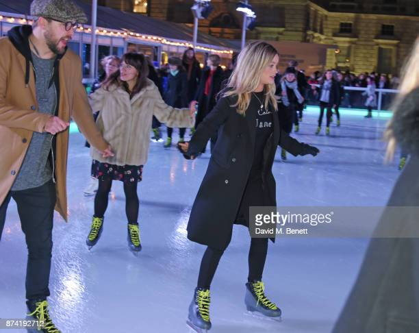 Iain Stirling and Laura Whitmore attend the opening party of Skate at Somerset House with Fortnum Mason on November 14 2017 in London England...
