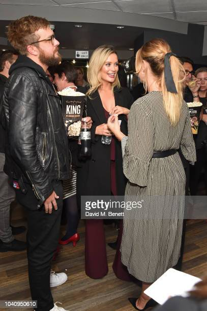 Iain Stirling Laura Whitmore and Lily James attend a Gala Screening of Black '47 at Odeon Covent Garden on September 26 2018 in London England