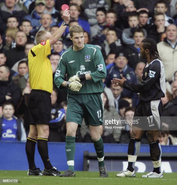 Iain Turner of Everton is sent off during the Barclays Premiership match between Everton and Blackburn Rovers at Goodison Park on February 11, 2006...