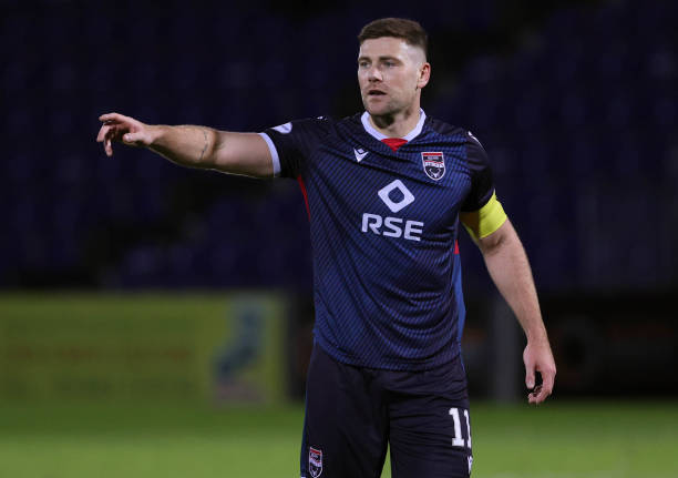 Iain Vigurs in action for Ross County during a Betfred Cup match between Ross County and Stirling Albion at The Global Digital Arena, on November 14...