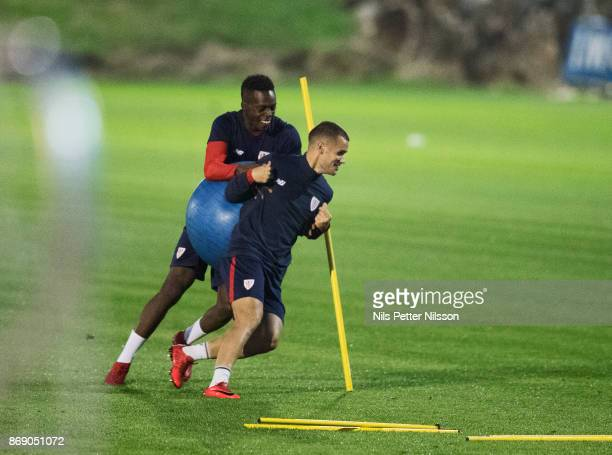 Iñaki Williams of Athletic Bilbao with team mate during training ahead of the UEFA Europa League group J match between Athletic Bilbao and Ostersunds...