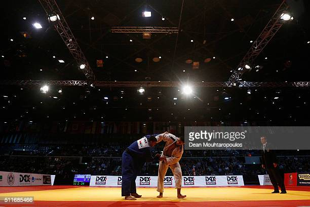 Iakiv Khammo of the Ukraine and Islam El Shehaby of Egypt compete during the Dusseldorf Judo Grand Prix in their Mens 100kg Gold Medal match held at...