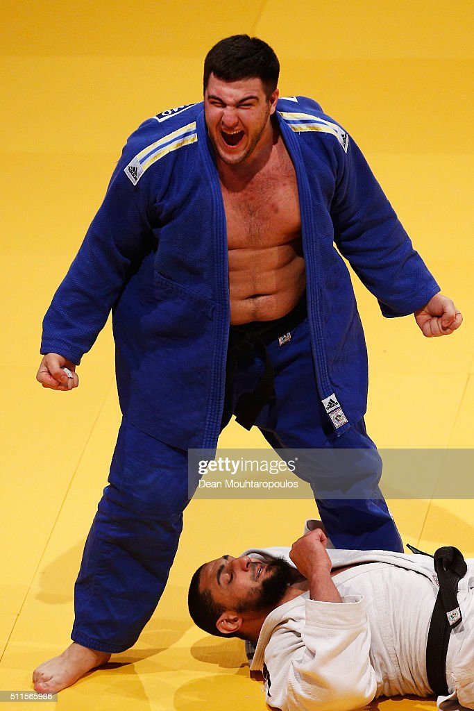Iakiv Khammo of the Ukraine celebrates victory over Islam El Shehaby of Egypt during the Dusseldorf Judo Grand Prix in their Mens +100kg Gold Medal match held at Mitsubishi Electric Halle on February 21, 2016 in Dusseldorf, Germany.