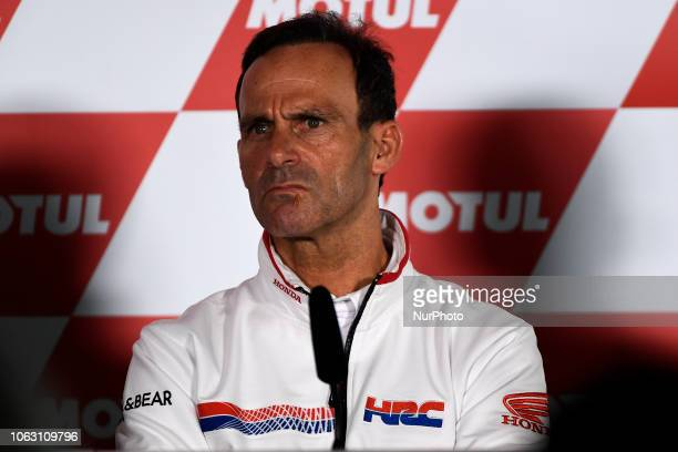 iAlberto Puig of Spain and manager of Repsol Honda Team speaks during the Team Managers Press Conference during the MotoGP of Valencia Gran Premio...