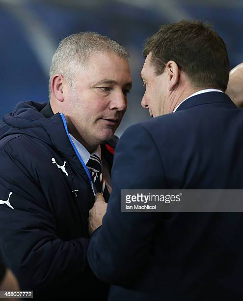 IAlly McCoist of Rangers and Tommy Wright of St Johnstone during the Rangers v St Johnstone Scottish League Cup QuarterFinal at Ibrox Stadium on...