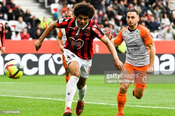 Iamine Diaby of Nice and Ruben Aguilar of Montpellier during the Ligue 1 match between Nice and Montpellier at Allianz Riviera on April 7 2019 in...