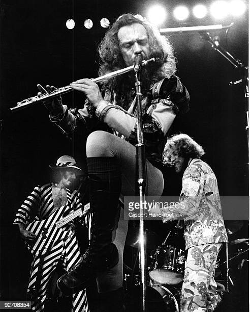 Ian Anderson from Jethro Tull performs live on stage at Ahoy Rotterdam on October 12 1974LR Jeffrey Hammond Ian Anderson Martin Barre