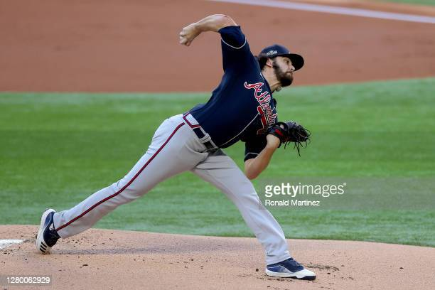 Ian Anderson of the Atlanta Braves delivers the pitch against the Los Angeles Dodgers during the first inning in Game Two of the National League...