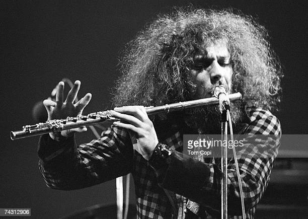 Ian Anderson of the English progressive rock band Jethro Tull plays the flute at the Newport Jazz Festival on June 21 1969 in Newport Rhode Island