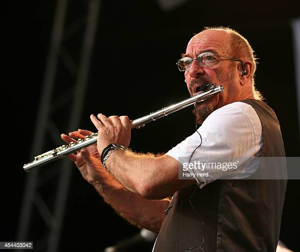 Ian Anderson performs on stage at Weyfest Music Festival at Rural Life Centre on August 30 2014 in Farnham United Kingdom