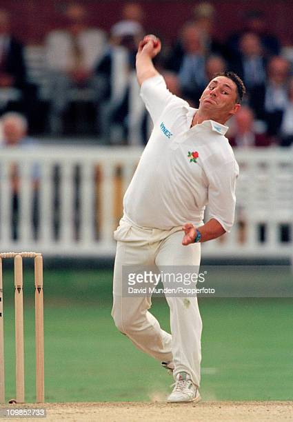 Ian Austin bowling for Lancashire during the Benson Hedges Cup Final between Lancashire and Kent at Lord's cricket ground in London 15th July 1995...