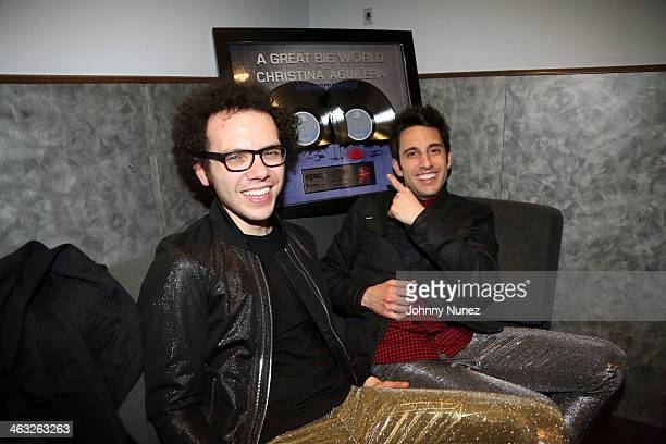 Ian Axel and Chad Vaccarino of A Great Big World celebrate the success of a recent project backstage at Highline Ballroom on January 16 2014 in New...
