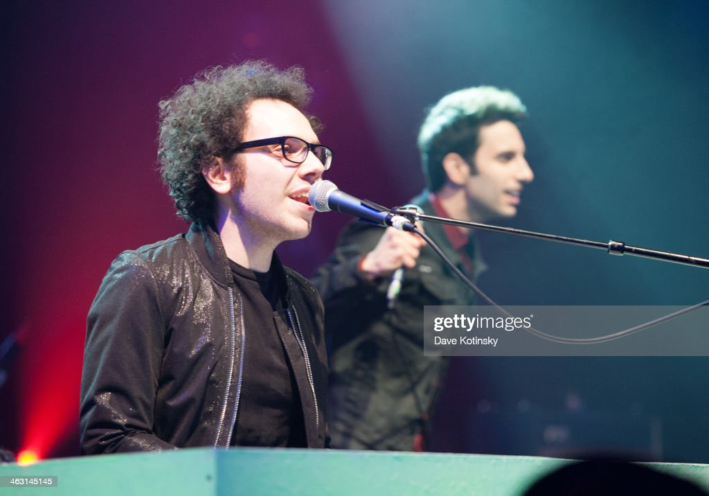 Ian Axel (L) and Chad Vaccarino (R) of A Great Big World perform at Highline Ballroom on January 16, 2014 in New York City.