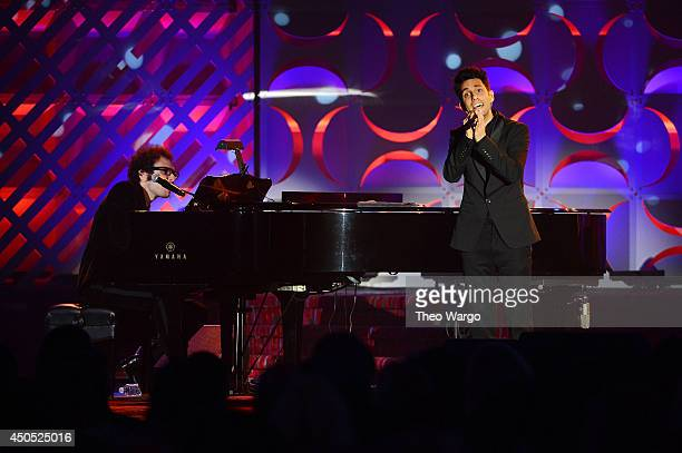 Ian Axel and Chad Vaccarino of A Great Big World perform onstage at the Songwriters Hall of Fame 45th Annual Induction and Awards at Marriott Marquis...