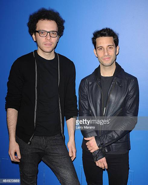 Ian Axel and Chad Vaccarino of A Great Big World pose for a portrait at Y 100 Radio Station on January 24 2014 in Miami Florida