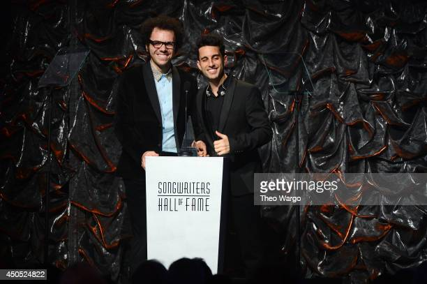 Ian Axel and Chad Vaccarino of A Great Big World speak onstage at the Songwriters Hall of Fame 45th Annual Induction and Awards at Marriott Marquis...