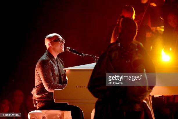 Ian Axel of A Great Big World performs onstage during the 2019 American Music Awards at Microsoft Theater on November 24 2019 in Los Angeles...