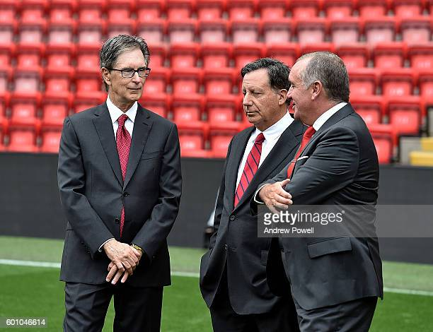 Ian Ayre, Chief Executive, John W. Henry Principal Owner, Tom Werner Chairman of Liverpool at the opening event at Anfield on September 9, 2016 in...