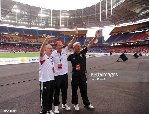 Ian Ayre Phil Thompson and Ian Rush of Liverpool during a training session at the Perbadanan Stadium on July 14 2011 in Kuala Lumpur Malaysia