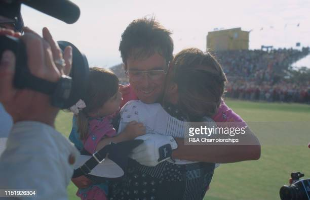 Ian BakerFinch of Australia hugs his children after his victory during The 120th Open Championship held at Royal Birkdale Golf Club from July...