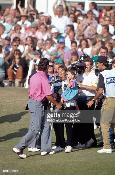 Ian BakerFinch of Australia is greeted by his wife Jennie and daughter Hayley after winning the British Open Golf Championship held at the Royal...
