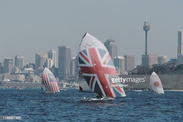 Ian Barker and Simon Hiscocks of Great Britain compete in the Mixed Skiff 49er sailing competitionl during the XXVII Summer Olympic Games on 16th...