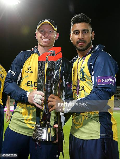 Ian Bell and Ateeq Javid of Birmingham Bears celebrate with the trophy during the Natwest T20 Blast Final match between Birmingham Bears and...