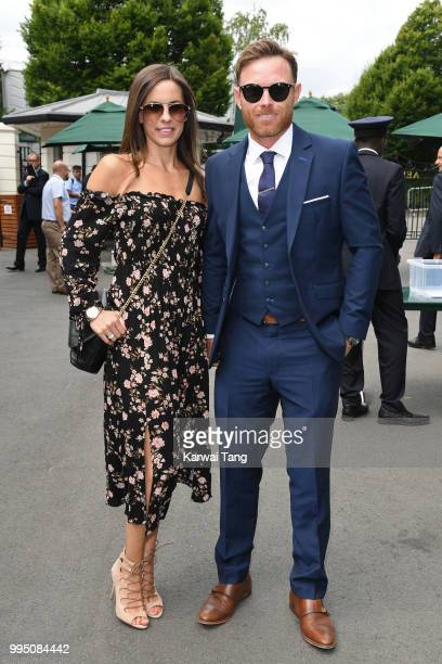 Ian Bell and his wife Chantal Louise Bastock attend day eight of the Wimbledon Tennis Championships at the All England Lawn Tennis and Croquet Club...