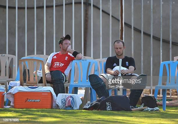 Ian Bell and Jonathan Trott of England look on during the England nets session at the M A Chidambaram Stadium on March 5 2011 in Chennai India