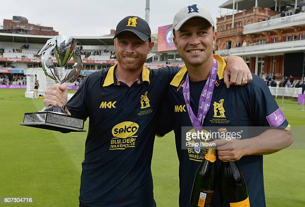 Ian Bell lifts the trophy with Jonathan Trott after Warwickshire won the Royal London oneday cup final cricket match between Warwickshire and Surrey...