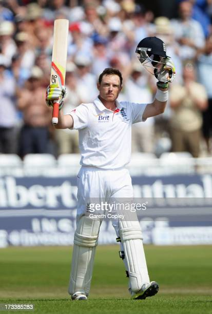 Ian Bell of England acknowledges his century during day four of the 1st Investec Ashes Test match between England and Australia at Trent Bridge...