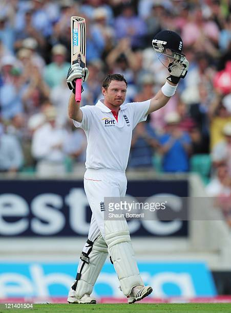 Ian Bell of England acknowledges his century during day two of the 4th npower Test Match between England and India at The Kia Oval on August 19 2011...