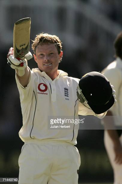 Ian Bell of England acknowledges his century during day two of the first npower test match between England and Pakistan at Lord's on July 14 2006 in...