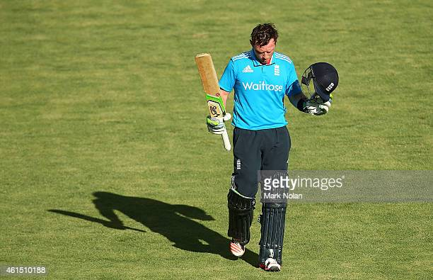 Ian Bell of england acknowledges the crowd after being dismissed during the tour match between the Prime Ministers XI and England at Manuka Oval on...
